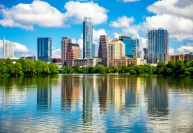 Blue Pearl Reflections on Town Lake at Austin Texas Skyline Cityscape view from Pedestrian Bridge - a blue summer paradise view